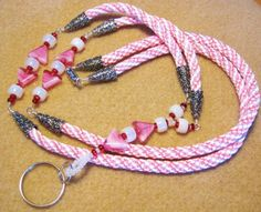 Pink Kumihimo Hand Braided ID Lanyard with silver and glass bead accents - Valentine Heart - Valentine Gift - Woven on Etsy, $42.00