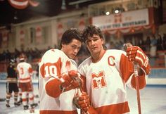 """Rob Lowe and Patrick Swayze in a scene from the hockey film """"Youngblood"""" 1980s Films, 80s Movies, Rob Lowe 80s, Patrick Swayze Movies, Patrick Wayne, Brat Pack, Ralph Macchio, Young Blood, Dirty Dancing"""