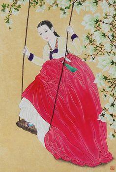 (Korea) Korean Elegance Woman by Bak Yeun-ok ). Modern Pictures, Comic Pictures, Creative Pictures, Korean Art, Cute Korean, Asian Art, Korean Traditional Clothes, Traditional Outfits, Korean Illustration