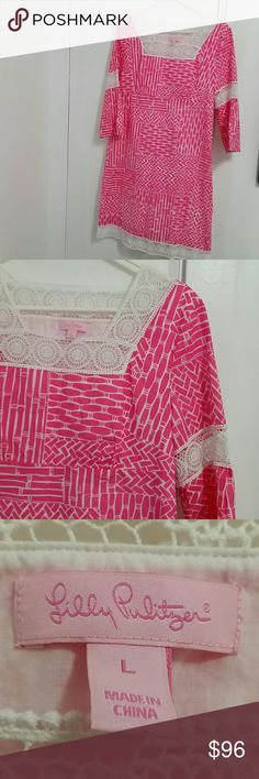 Lilly Pulitzer nearly new pink and white dress Pretty Lilly Pulitzer pink and white shift dress, size Large. In amazing condition. No snags or pulls to crocheted detail. Amazing and versatile piece for spring and summer. Lilly Pulitzer Dresses