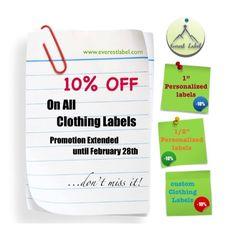 10% Off on all clothing labels for 1 more month! Everestlabel.com