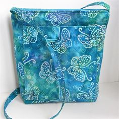 Quilted Hipster in Green and Blue Batik Butterflies | MamaMahoneyCreations - Bags & Purses on ArtFire