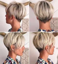 Short blonde cut from multiple angles.