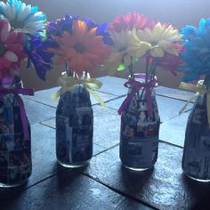 Class Reunion Yearbook Vases - photocopy yearbook pages, mod podge them to vase of your choice (I used Starbucks Frappuccino instead of needing to buy anything), tie a ribbon with your school colors on, makes a great centerpiece! Reunion Centerpieces, Reunion Decorations, Table Centerpieces, Reunion Dress, 60s Theme, Yearbook Pages, Starbucks Frappuccino, School Reunion, Family Reunions