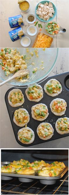 Chicken Pot Pie Cupcakes - I need to look for a home made dough recipe though... Great idea for freeze ahead lunches and dinners