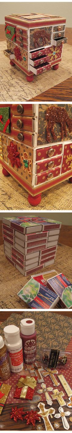 Box - Made from matchboxes, decorative paper, brads, paint and scrapbook embellishments.  No numbers on the drawers though. I thought it looked great without them.