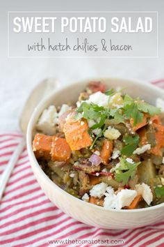 Paleo Sweet Potato Salad with Bacon and Hatch Chilies