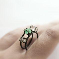emerald and herkimer diamond ring, oxidized sterling silver Jewelry Art, Jewelry Rings, Jewelry Accessories, Unique Jewelry, Indian Jewelry, Jewlery, Bijoux Design, Jewelry Design, Oxidized Sterling Silver