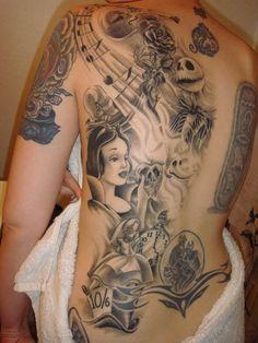 Love this black and grey back piece. #inked #inkedmag #tattoo #snowwhite #princess #back #realism