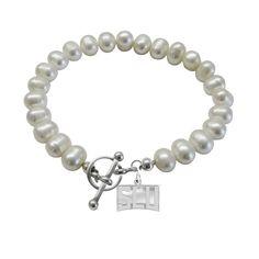 Saint Louis University Billikens Pearl Bracelet using Genuine Freshwater Pearls and Solid Sterling Silver.