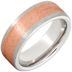 Serinium® Pipe Cut Band with a Rose Gold Inlay with a Stone Finish — Jewelry Innovations Wedding Bands For Him, Wedding Rings, Rose Gold, Engagement Rings, Stone, Jewelry, Enagement Rings, Rock, Jewlery