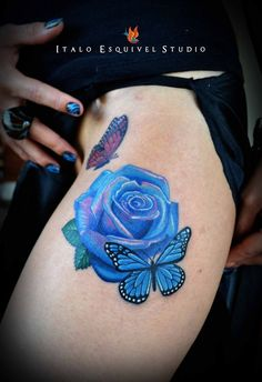 Check out these gorgeous and beautiful rose tattoo designs for that something special whether you're a girl or a guy. Hope you will like these rose tattoos. Rose Tattoos For Women, Butterfly Tattoos For Women, Blue Rose Tattoos, Butterfly Tattoo Designs, Flower Tattoos, Rose And Butterfly Tattoo, Butterfly Tattoo On Shoulder, Purple Butterfly, Shoulder Tattoo
