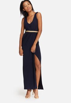 Wrapping around the body to create a flattering silhouette, this sultry dress features a slit at the front and a cinched waist that ties at the back. The stretchy T-shirt fabric also creates a figure-hugging fit. Neck Wrap, Wrapping, Ties, Wrap Dress, Silhouette, V Neck, Navy, Create, Fabric