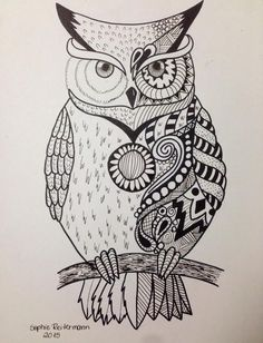 20 Amazing Owl Drawings In Different Mediums to Draw - The Things to Draw Journey Doodle Art Drawing, Zentangle Drawings, Mandala Drawing, Zentangle Patterns, Mandala Art, Zentangles, Drawing Owls, Fish Drawings, Pencil Art Drawings