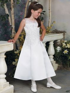 Joan Calabrese White A-Line Communion Dress