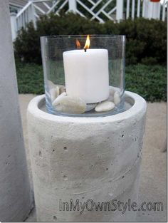How-to-make-a knockoff Restoration Hardware Concrete Fire Column  {InMyOwnStyle.com}  #Outdoor #summer  #outdoordecor  #entertaining  #DIY