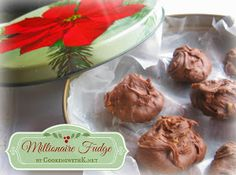 Millionaire Fudge - In the marshmallow whip creme was introduced to fudge recipes by Mamie Eisenhower who changed the whole concept of how easy it is to make, not to mention how delicious. Fudge Recipes, Candy Recipes, Sweet Recipes, Holiday Recipes, Dessert Recipes, Valentine Recipes, Holiday Foods, Christmas Desserts, Christmas Baking