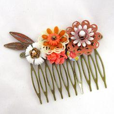 Autumn fall Vintage Bridal Hair Comb in orange brown by cloudcake, $35.00