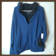 """New With Tags! Men's Faded Glory Sherpa Lined Hooded Coat Jacket. Blue outside and black SUPER SOFT Sherpa Lined. 2 front pockets.    Chest 54""""    Length 30"""" 