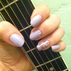 Girly & glamorous. Essie Lilacism with Essie A Cut Above for the accent.
