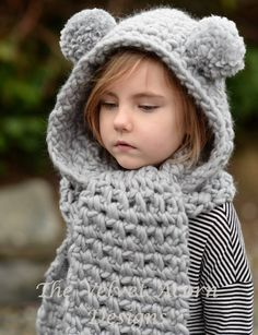 Crochet PATTERN-The Zolta Hooded Scarf months, Toddler, Child, Teen, Adult sizes This hooded scarf is handcrafted and designed with comfort and warmth in mind. The pompom ears are optional. All patterns written in standard US terms. Hooded Scarf Pattern, Crochet Hooded Scarf, Crochet Scarves, Scarf Knit, Crochet For Kids, Crochet Baby, Knit Crochet, Velvet Acorn, Super Bulky Yarn