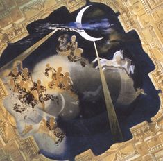 Ceiling of the Hall of Gala's Chateau at Pubol, 1971, Salvador Dali #Dalí