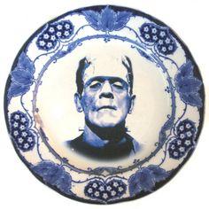 Frankenstein altered art antique plate. $69