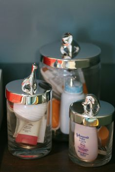 IHeart Organizing: Place little things such as nail clippers in glass jars