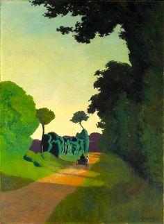 Felix Vallotton — The Cart, Painting: oil. - Art of Darkness Kunst Online, Online Art, Landscape Art, Landscape Paintings, Blog Art, Art En Ligne, Paul Gauguin, Michelangelo, Land Scape
