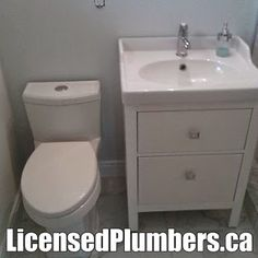New toilet installation, new vanity sink and faucet installation. http://LicensedPlumbers.ca #MississaugaPlumbers #PlumberMississauga