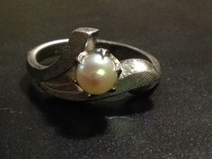 8 authentic vintage STERLING SILVER signed pearl 5mm ring akoya? V oval mark
