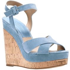 Michael Kors Cate Leather Platform Wedge Sandals ($217) ❤ liked on Polyvore featuring shoes, sandals, wedges, heels, light blue, wedges shoes, platform sandals, heeled sandals, open toe sandals and high heel shoes