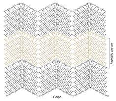 Discover thousands of images about Vestido de Crochê Chevron com EuroRoma Passione Zig Zag Crochet, Crochet Ripple, Crochet Motifs, Crochet Square Patterns, Crochet Stitches Patterns, Crochet Diagram, Crochet Chart, Baby Blanket Crochet, Crochet Baby
