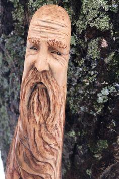 Wood Walking Stick Carving Hand Carved Wood Spirit by JoshCarteArt Wooden Walking Canes, Wooden Canes, Wooden Walking Sticks, Wood Carving Art, Bone Carving, Deer Antler Crafts, Deer Antlers, Spirit Sticks, Hand Carved