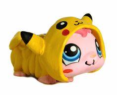 Littlest Pet Shop Pokemon Pikachu hamster ooak custom figure LPS pajamas onesie #Hasbro