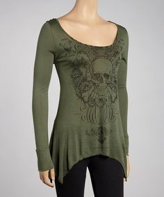Take a look at this Olive Skull Sidetail Tunic by Urban X on #zulily today!...I like but I wonder if this color would look good on me