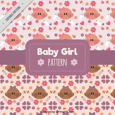 Decorative patterns of pretty girls Free Vector