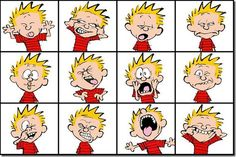 Faces - Print out Calvin's faces and let child copy expression in the mirror -Preschool Alphabet