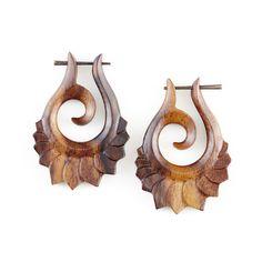 """Fake Gauge Earrings - Organic Wood Tribal Earrings Fake Piercing  - Sono Wood """"Lotus Curls"""" Earrings - SUPER SALE on Etsy, $20.49 CAD"""