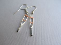 Medical Crutch Dangle Hoop Earrings Nurses Doctors by IrisJane, $5.25