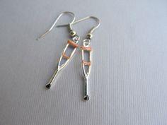 Medical Crutch Dangle Hoop Earrings Nurses Doctors by IrisJane, $5.25
