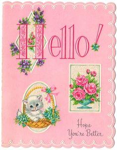Vintage Greeting Card Pink Get Well Kitty Cat Glitter Unused B850 | eBay