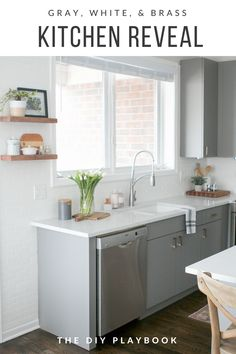 With just a few cosmetic upgrades, this gray kitchen is now light, bright, and ready for entertaining.