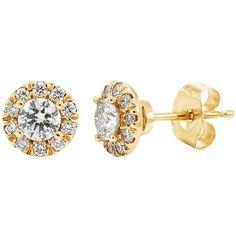 1/2 Carat T.W. IGI Certified Diamond 14k Gold Halo Stud Earrings ($1,000) ❤ liked on Polyvore featuring jewelry, earrings, white, yellow gold stud earrings, gold earrings, gold stud earrings, diamond earrings and 14k diamond earrings