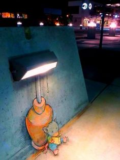 Mouse Quietly Reading Under Sidewalk Lamp Stand Graffiti