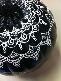 Items similar to Fall Thanksgiving Home Decor - Black Henna Painted Craft Pumpkin on Etsy Pumpkin Art, Pumpkin Crafts, Pumpkin Carving, Pumpkin Painting, Pumpkin Ideas, Holidays Halloween, Halloween Diy, Halloween Decorations, No Carve Pumpkin Decorating