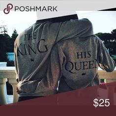 """""""His Queen"""" Sweatshirt Medium weight 7.8-oz Hanes Men's EcoSmart Medium Weight Fleece Crew it is made with up to 5% polyester created from recycled plastic. Soft, durable fleece with reinforced two-needle stitching at neck and armholes for increased durability. Custom printed/Designer inspired. Machine wash inside out. """"The king"""" Sweatshirt listed on my profile Sweaters Crew & Scoop Necks"""
