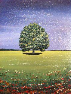 Acrylic painting Green Lone Tree 30x30cm by AlexandraMarionArt on Etsy