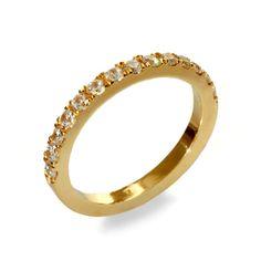 Half Eternity Ring diamond wedding band gold by DINARdiamonds