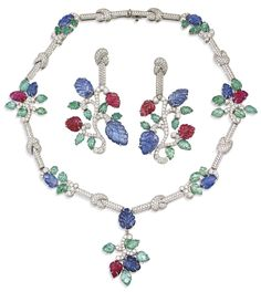 SOTHESBY'S IMPORTANT JEWELS ~ Diamond and Multi-Gem-Set Suite by Patrick Mauboussin